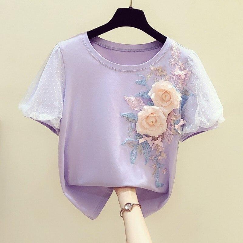 Handmade Three-dimensional Embroidered Flower Mesh Puff Sleeve Round Neckline T-shirt Women's 2020 Summer New T Shirts Tops