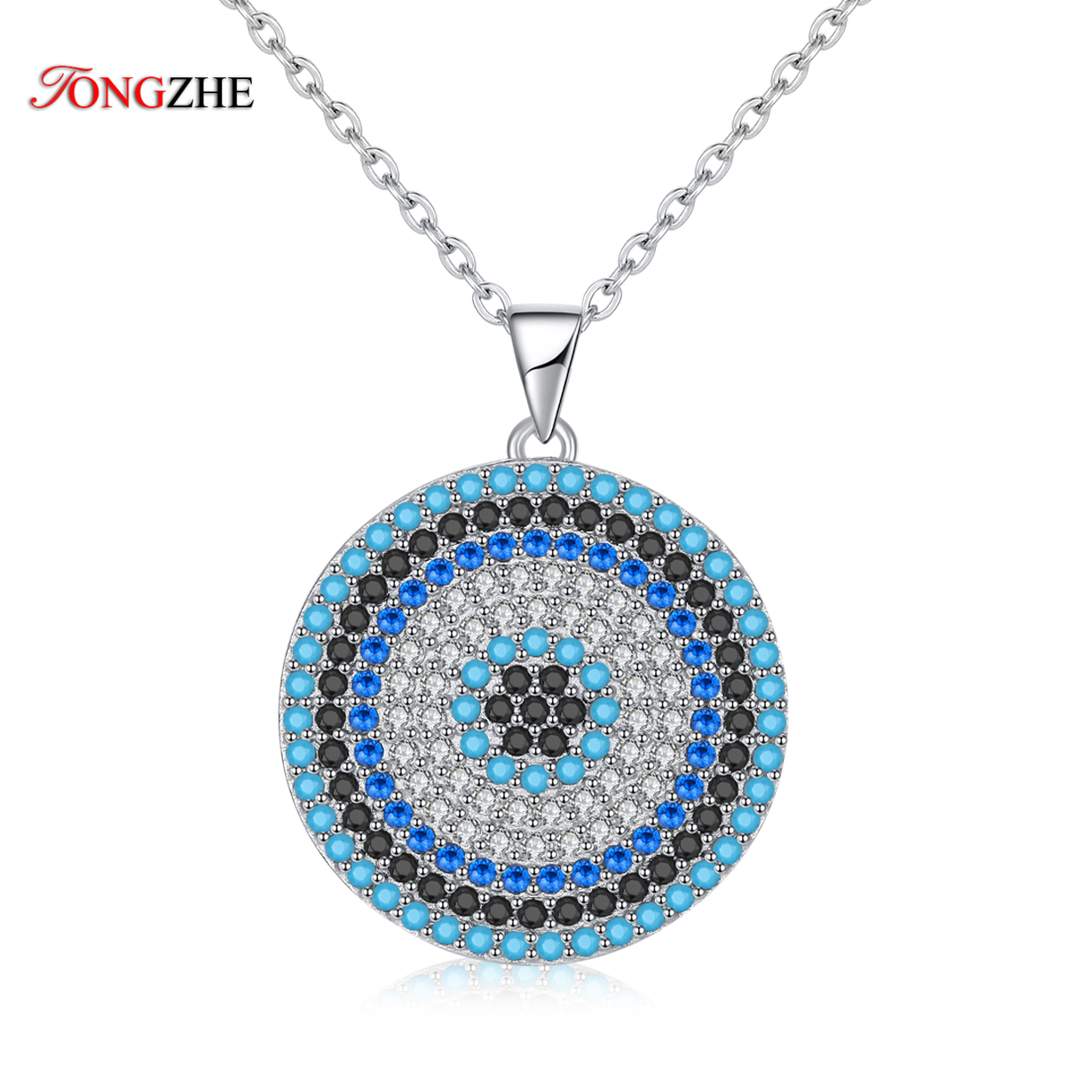 TONGZHE Sterling Silver 925 Necklaces Jewelry Round CZ Turkish Evil Eye Necklace Women Necklace Pendant Fine Jewelry Kolye Sale