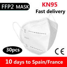 30 pçs máscaras kn95 adaptável contra a poluição respirável n95 máscara de segurança não tecido earloop kn95 proteção nível ffp2