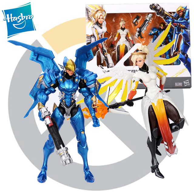 Hasbro Overwatch Ultimates Mercy and Pharah Shrike Ana and Soldier:76  Action Figures Suit Model Toys 6''