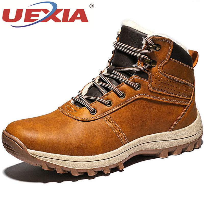 UEXIA Winter Warm Shoes Men Boots Leather Fur Plush Men Snow Handmade Footwear Working Ankle Outdoor High Top Motorcycle Shoes