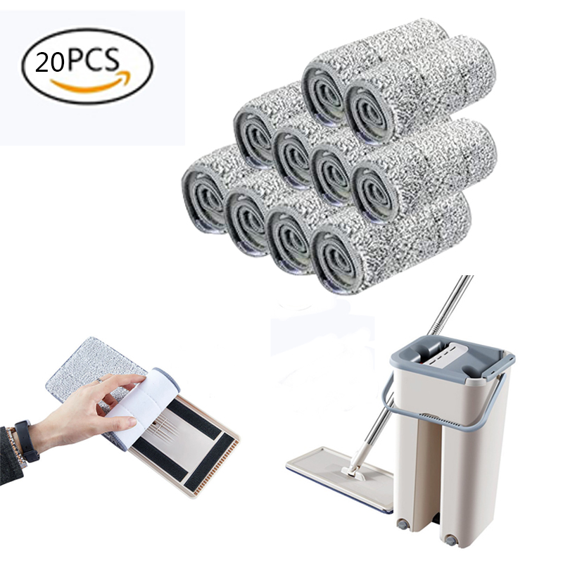 5/10/20PCS Microfiber Floor Mop Cloth Replace Rag Mop Self Wet And Cleaning Paste Mop Dry Cleaning Mop Floor Cloth Home Bathroom(China)