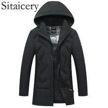 Sitaicery 5XL Winter Jacket Casual New Thick Warm Hooded Padded Zipper Mens Coat Clothing Outwear For Husband Father