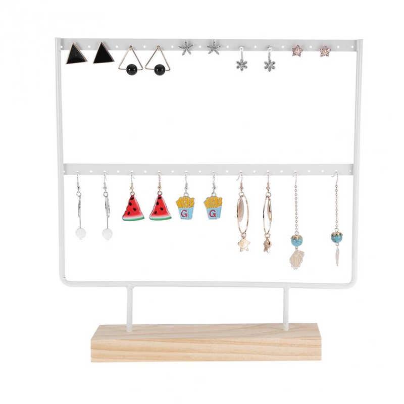 Nieuwe Mode 24/44 Creative Houten Gaten Zwart/Wit Oorbellen Oorstekers Sieraden Display Stand Organizer 2 Lagen Sieraden Rek