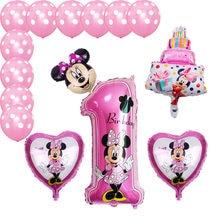 Mickey minnie folha balões 1st festa de aniversário decorações crianças ballon número 1 globos dot látex crianças brinquedo do chuveiro do bebê menina