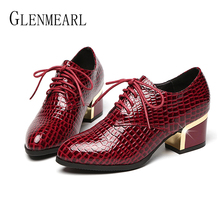 Купить с кэшбэком Genuine Leather Women Heels Female Thick Heel Women Pumps Fashion Spring Autumn Wedding Shoes Multicolor Women Shoes New Arrival