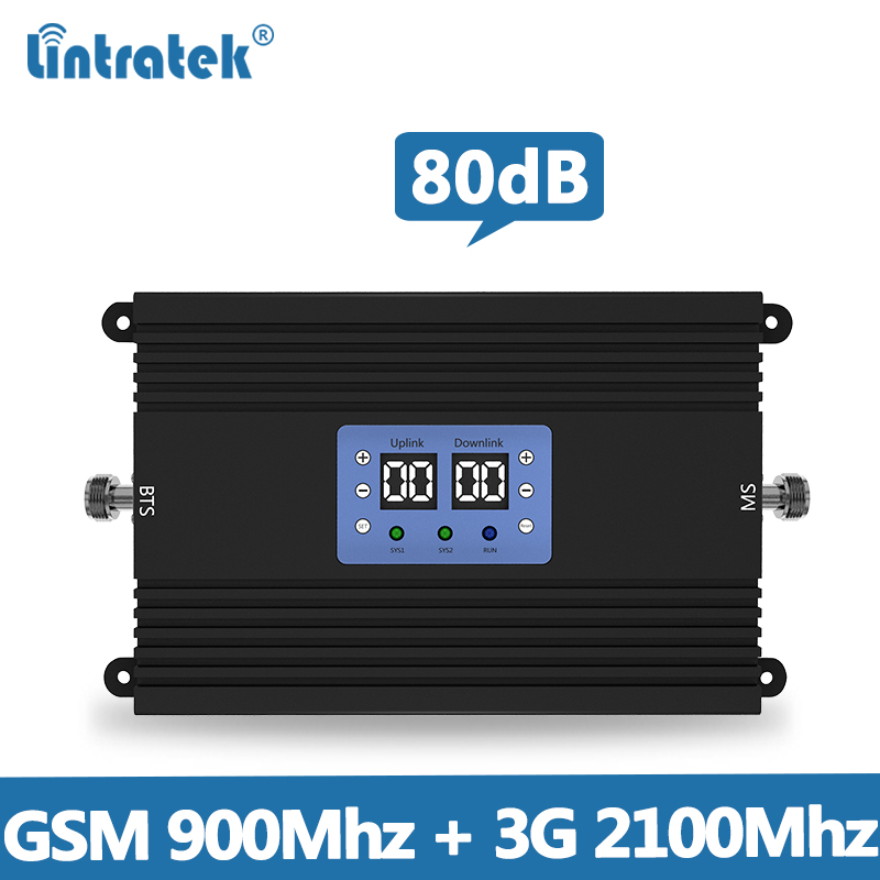 Lintretek 80dB Repeater GSM 2G 3G Signal Booster 900 2100Mhz Ampli AGC MGC Dual Band Signal Repeater Amplifier 25dBM 2019 NEW