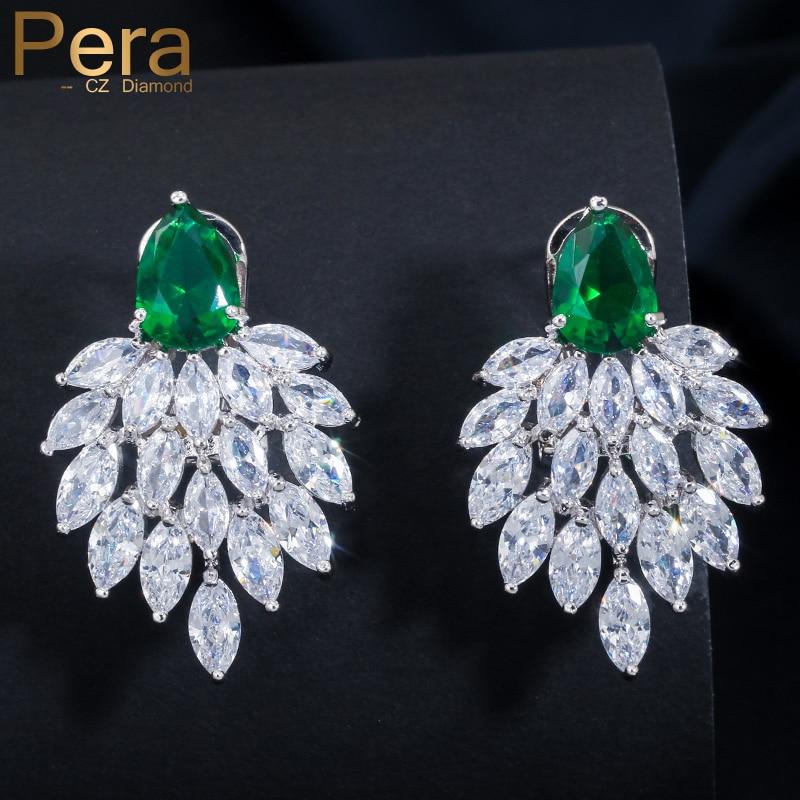 Pera υψηλής ποιότητας χειροποίητα vintage γυναικών κόμμα μποέμ στυλ μεγάλες πράσινες πέτρες σκουλαρίκια που πέφτουν κοσμήματα με κυβικά ζιρκονία E053