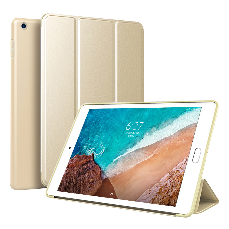 Gold Gold Trifold Leather Smart Case for iPad 10 2 7th generation 2019 Slim Translucent PC Back Cover