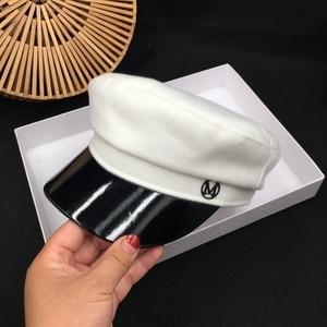 Image 3 - A propos de la nouvelle casquette en laine mode street joker bleu marine chapeau blanc casquette en cuir étudiants loisirs visières casquette marin
