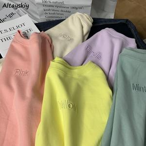 Hoodies Women Spring Fall Simple Letter Embroidery Lovely Pink Soft Girls Clothing All-match Korean Trendy Chic Femme Sweatshirt