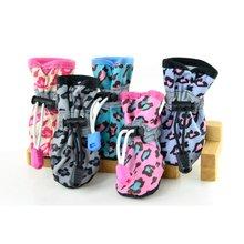 4pcs/set Colorful Dog Shoes Pet Cat Anti-Slip Rubber Sole Waterproof Leopard Boots 7 Size CM