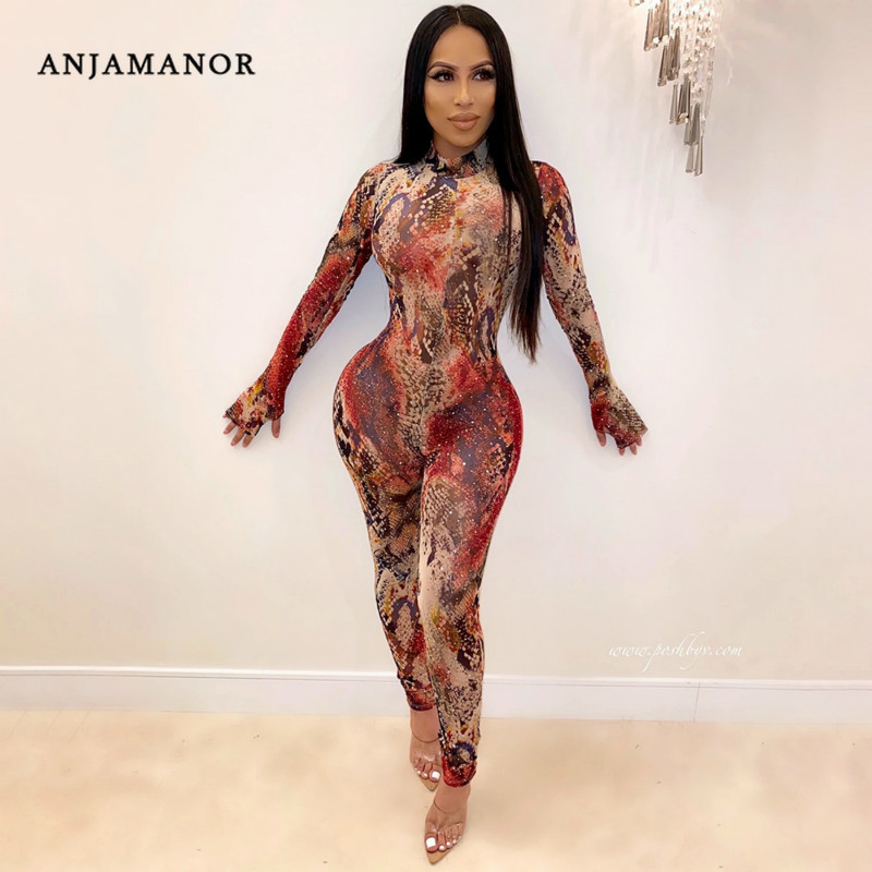 ANJAMANOR Snake Skin Print Mesh Sheer Sexy   Jumpsuit   Women One Piece Outfits Party Club Long Sleeve Bodycon Rompers D87-AA46