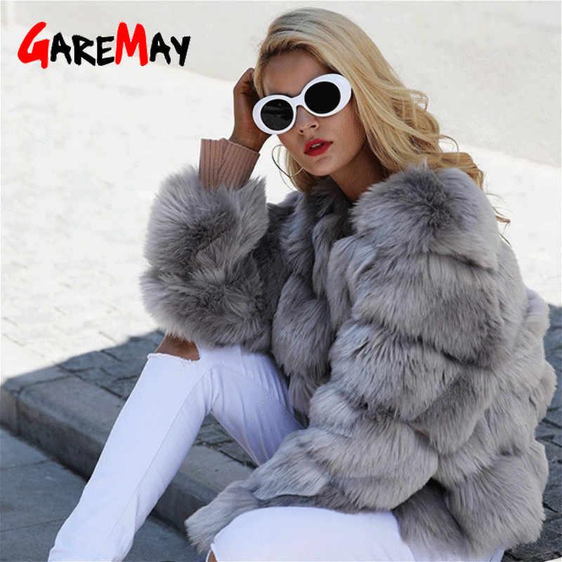 Garemayヴィンテージふわふわフェイクファーのコート毛皮のようなフェイクファー冬のアウターピンクコート 2020 秋カジュアルパーティーオーバーコート