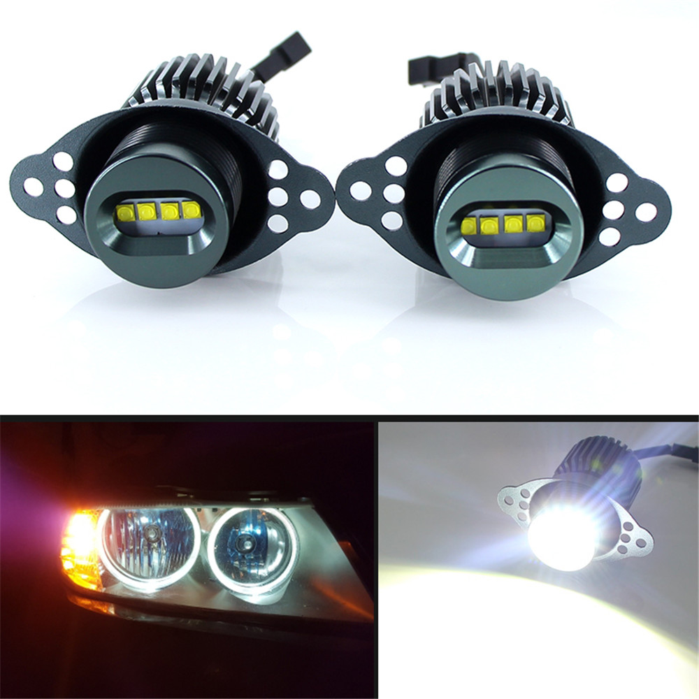 2 Pcs 80W LED Angel Eyes Halo Marker Ring Light Bulb Canbus For BMW E90 E91 318i LCI 09-11 DRL Error Free Car Styling