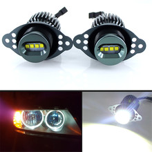 цена на 2 pcs 80W LED Angel Eyes Halo Marker Ring Light Bulb Canbus For BMW E90 E91 318i LCI 09-11 DRL Error Free car styling