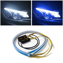 Day Light DRL LED Car Daytime Running Lights 30cm 45cm 60cm White Yellow Flexible DRL for Headlight with Turn Signal Lights osmrk led drl daytime running light for jeep renegade with yellow turn signal wireless switch control