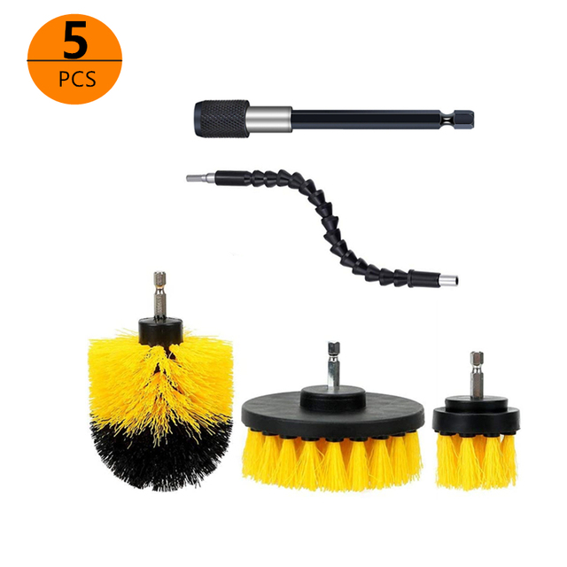 Electric Scrubber Brush Drill Brush Kit Plastic Round Cleaning Brush For Car Glass Car Tires Exterior Accessories