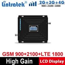Lintratek 2G 3G 4G 트리플 밴드 핸드폰 신호 부스터 65dB GSM 900 LTE 1800 WCDMA 2100 mhz 모바일 셀룰러 신호 리피터 @ 5