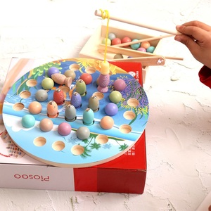 Montessori Educational Wooden Toys Materials Kids Clip Bead Magnetic Fishing Catch Worm Math Interactive Toys For Children Gifts(China)