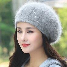 Beret Women Winter Hat Knit Warm Angora Rhinestone Double La