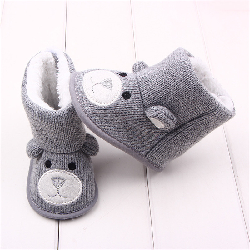 Children's Winter Knitted Boots Infant Toddler Newborn Cute Cartoon Bear Shoes For Girls Boys Toddler Baby First Walkers