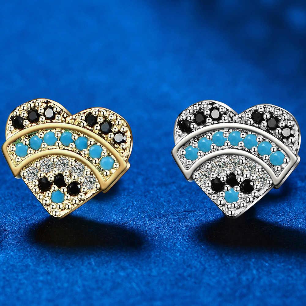 2 kolory miłość serce kształt kobiety dziewczynki CZ Rhod Stud kolczyk pełna CZ dla Party biżuteria piłka niebieski ceramiczne spadek klej pigmentu