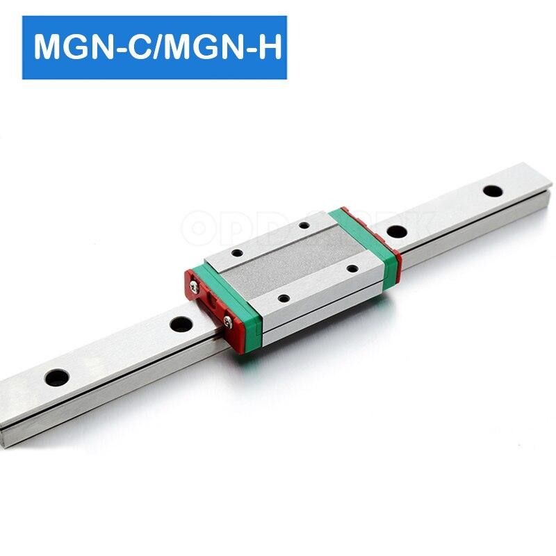 Cnc части MGN7 MGN12 MGN15 MGN9 300 350 400 450 500 600 800 мм миниатюрные линейные рельсы горка 1pcMGN9 линейные направляющие + 1pcMGN9H каретки