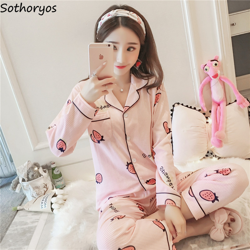 Pajama Sets Women Spring Korean Style Trendy Soft Breathable Comfortable Lovely Sweet Womens Clothing Female High Quality Simple
