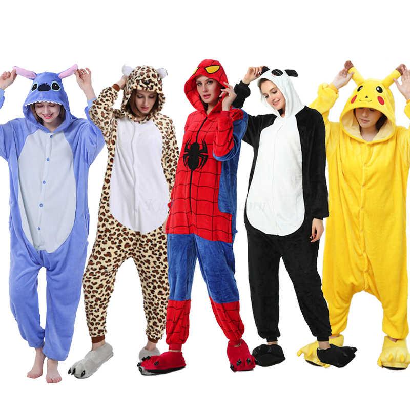 Adulto animale Kigurumi Unicorn Panda Gatto Tute Monopezzo Punto Pigiami Per Le Donne Flanella Cosplay Costume Pikachu Pigiami Per Bambini Degli Indumenti Da Notte