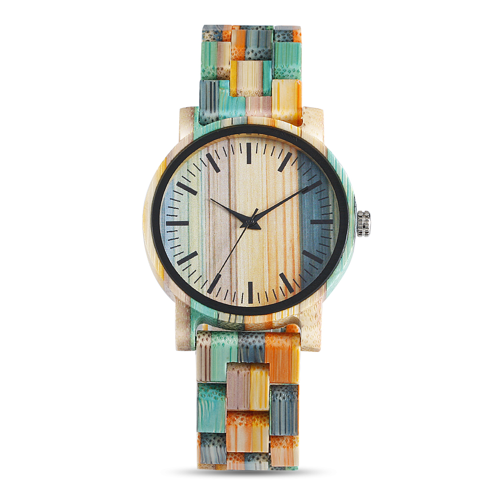 QW Sports Fast Shipping Water Resistant Bamboo Wristwatches Lady Women Wood Watches