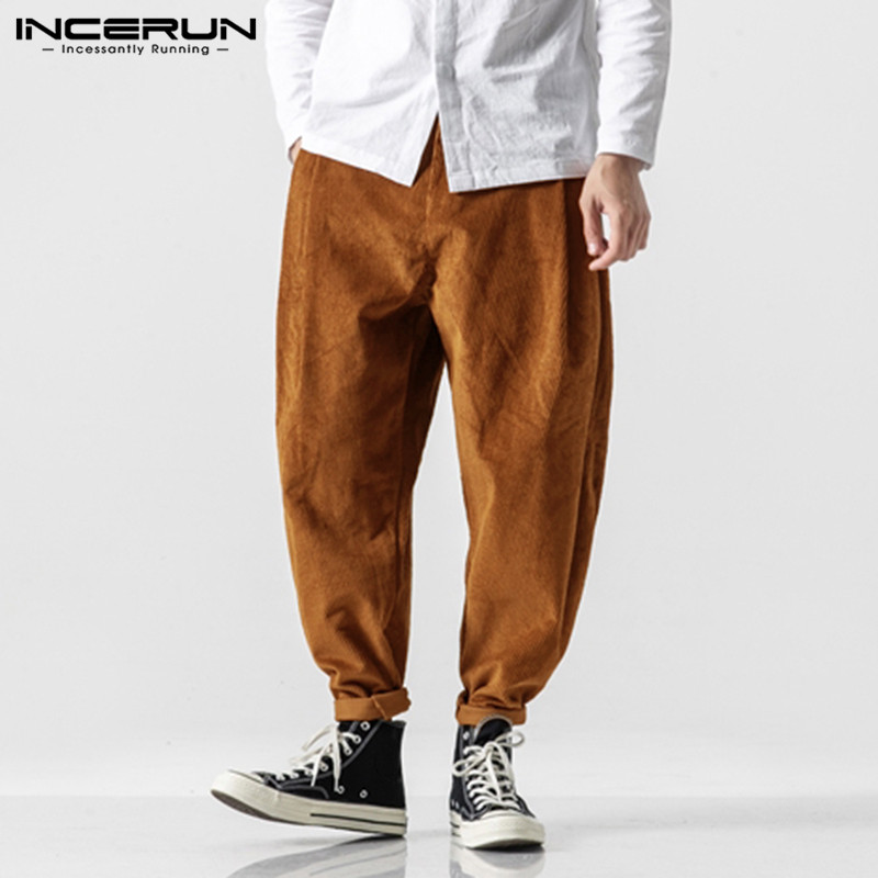 INCERUN Winter Corduroy Men Pants Solid Button Loose Retro Joggers Fashion Streetwear Harem Pants 2020 Casual Trousers Men S-5XL