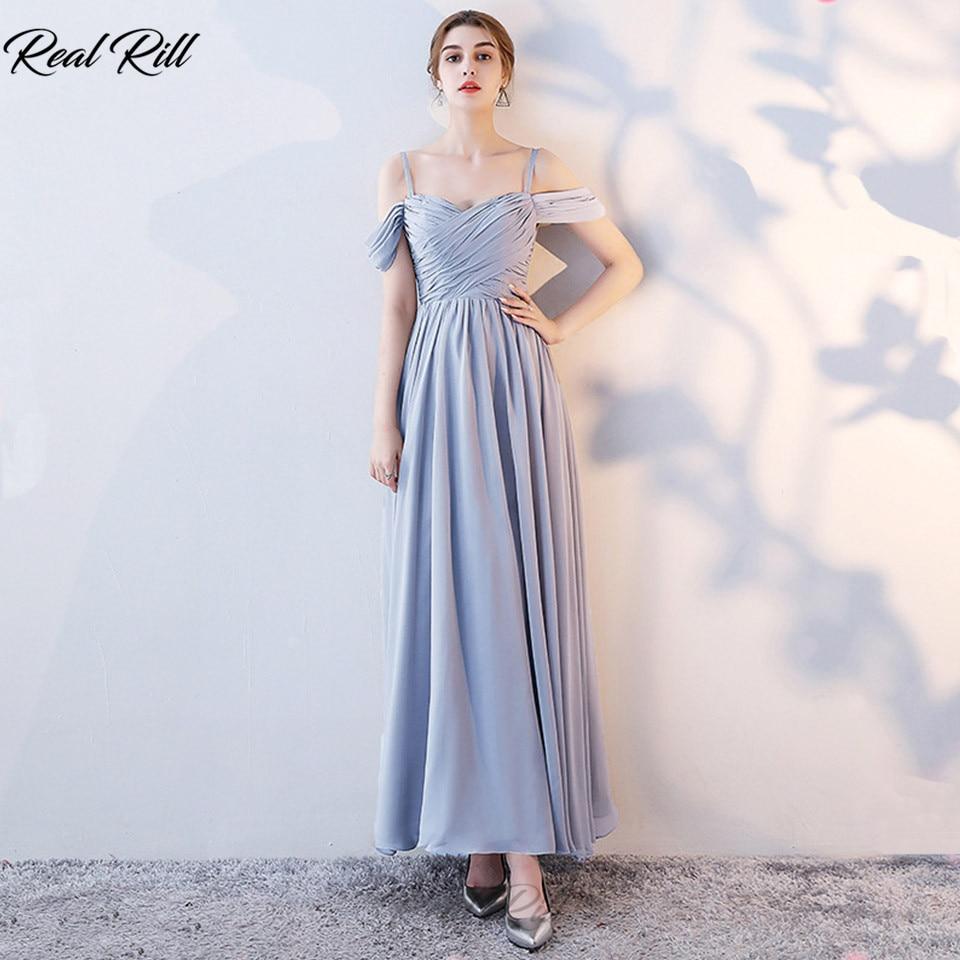 Real Rill Cold Shoulder Bridesmaid Dresses Lace Up Back Long Chiffon Wedding Guest Dress For Wedding Party Vestidos De Festa