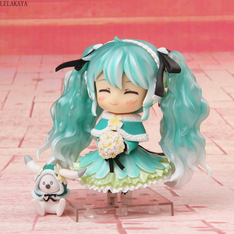 New Anime VOCALOID Hatsune Miku 047# 2015 Snow miku Cute Ver. PVC Action Figure Model Collection Mini Small Toys Brinquedos 10cm image