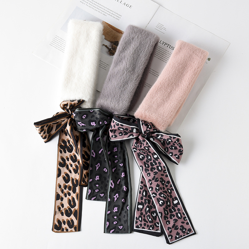 2019 Winter Douyin New Style Versatile Fashion Warm Thick Scarf Soft Bristle Bowtie Fur Collar Scarf
