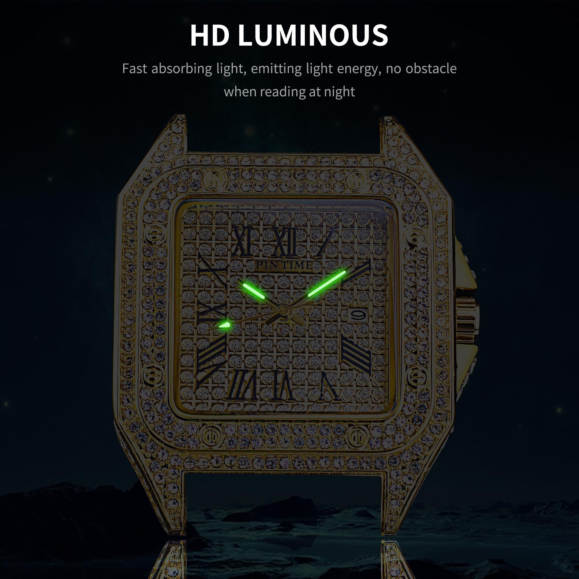 Relógio analógico com calendário de aço inoxidável