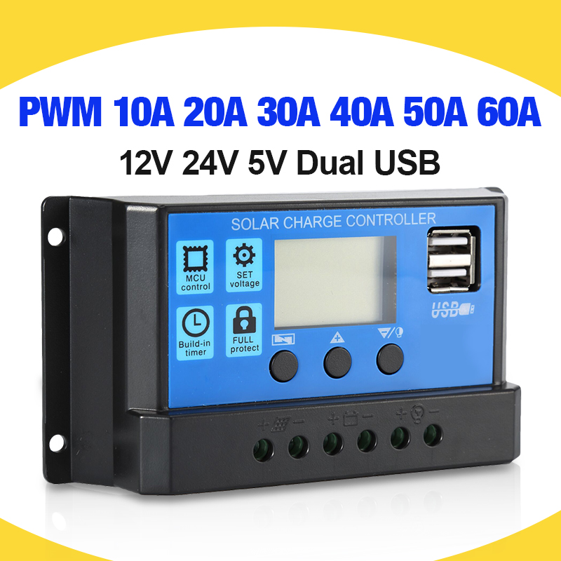 60A/50A/40A/30A/20A/10A Solar Charger Controller 12V 24V Auto PWM Controllers LCD Display 5V Dual USB Output Controller|Solar Controllers|   - AliExpress