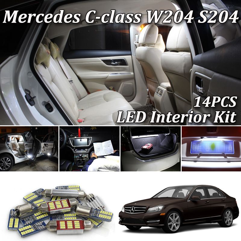 14Pcs Canbus White LED Car Interior Package For <font><b>Mercedes</b></font> C-Class W204 S204 AMG C180 C220 C230 C250 C280 <font><b>C300</b></font> C320 C350 C63 08-14 image