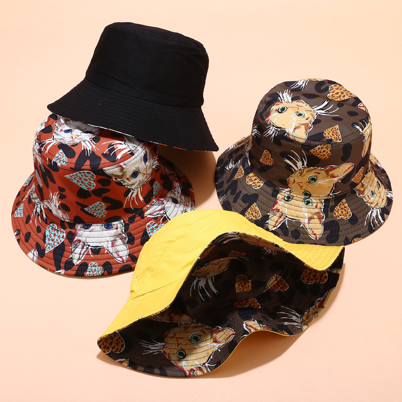 2020 New Japanese Fisherman Hat Female Literary Cute Cat Sunshade Hat Summer Outdoor Trend Double-sided Sun Hats