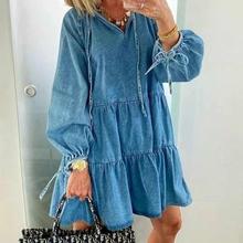 Платье женское джинсовое однотонное короткое модное свободное