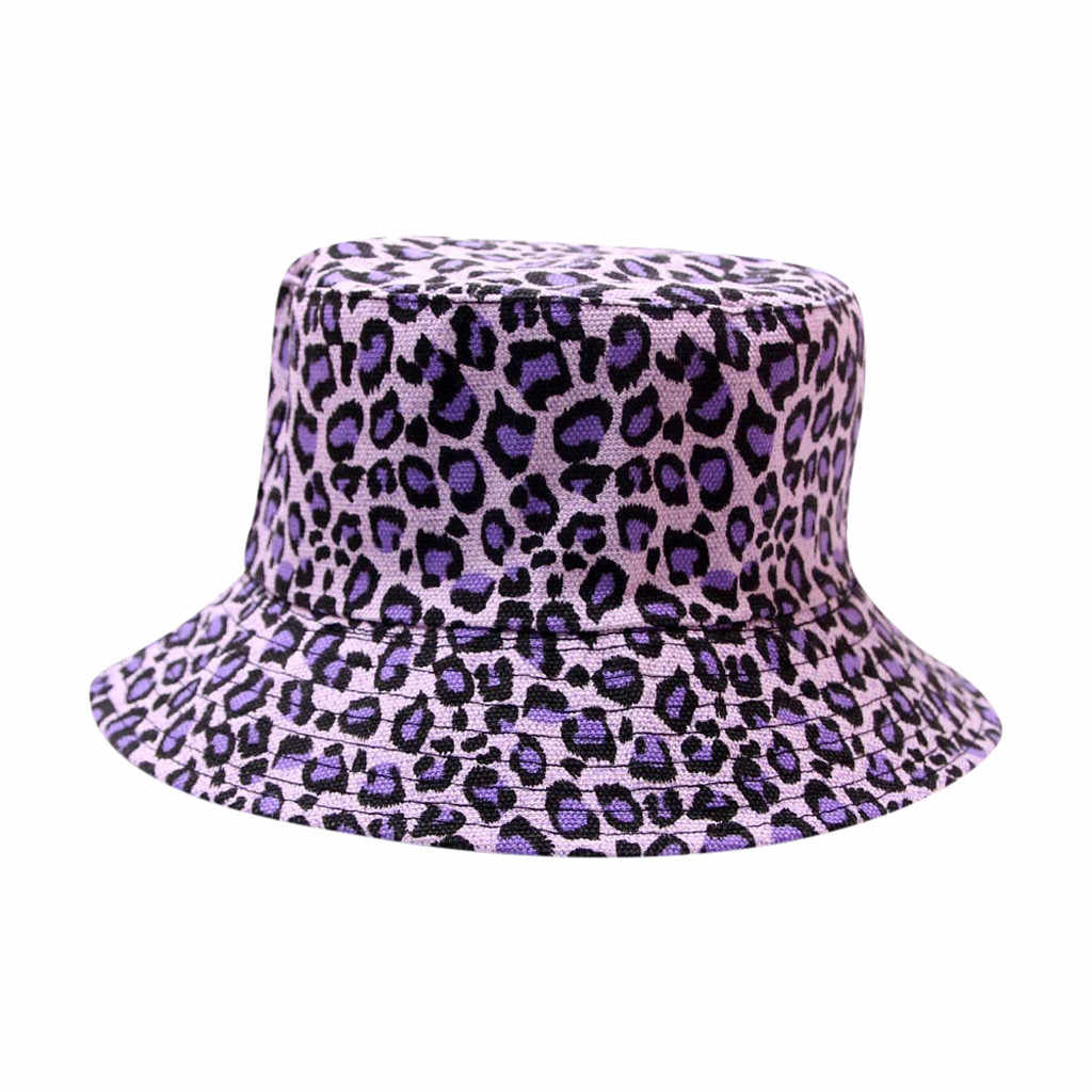 Dewasa Unisex Pria Biasa Lembut Ember Topi Ember Chapeu Cap Fashion Macan Tutul Cetak Outdoor Sun Perjalanan Kasual Pot Ember Topi