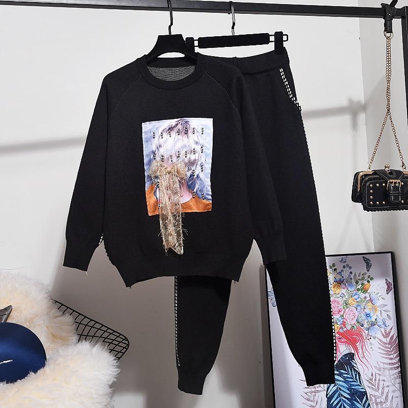 Mode tricot survêtement femmes 2pc perles lâches Patch conception à manches longues tricoté pull + décontracté pantalons longs ensemble tenues femme