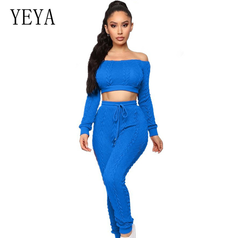 YEYA Sexy Slash Neck Lace-up Romper Night Club Overalls Elegant Hollow Out 2 Pieces Femme Off Shoulder Knitted Jumpsuits