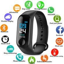 M3 inteligente pulseira banda pressão arterial e freqüência cardíaca rastreador de fitness monitor sono esporte relógio inteligente tela colorida para homens
