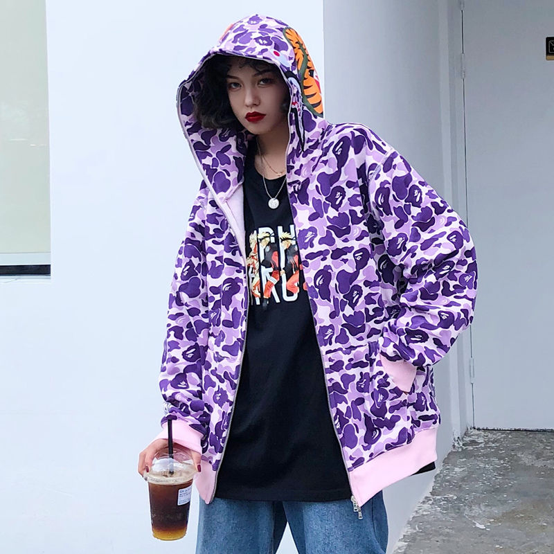 Japanese Shark Camouflage Print Zipper Sweatshirts Women Spring Thin Female Loose Hoodies Harajuku Casual Zipper Couple Coats
