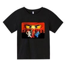 3-14 anos de idade das crianças verão algodão camiseta lego cartoon roupas masculinas e meninas dos desenhos animados impresso manga curta camiseta