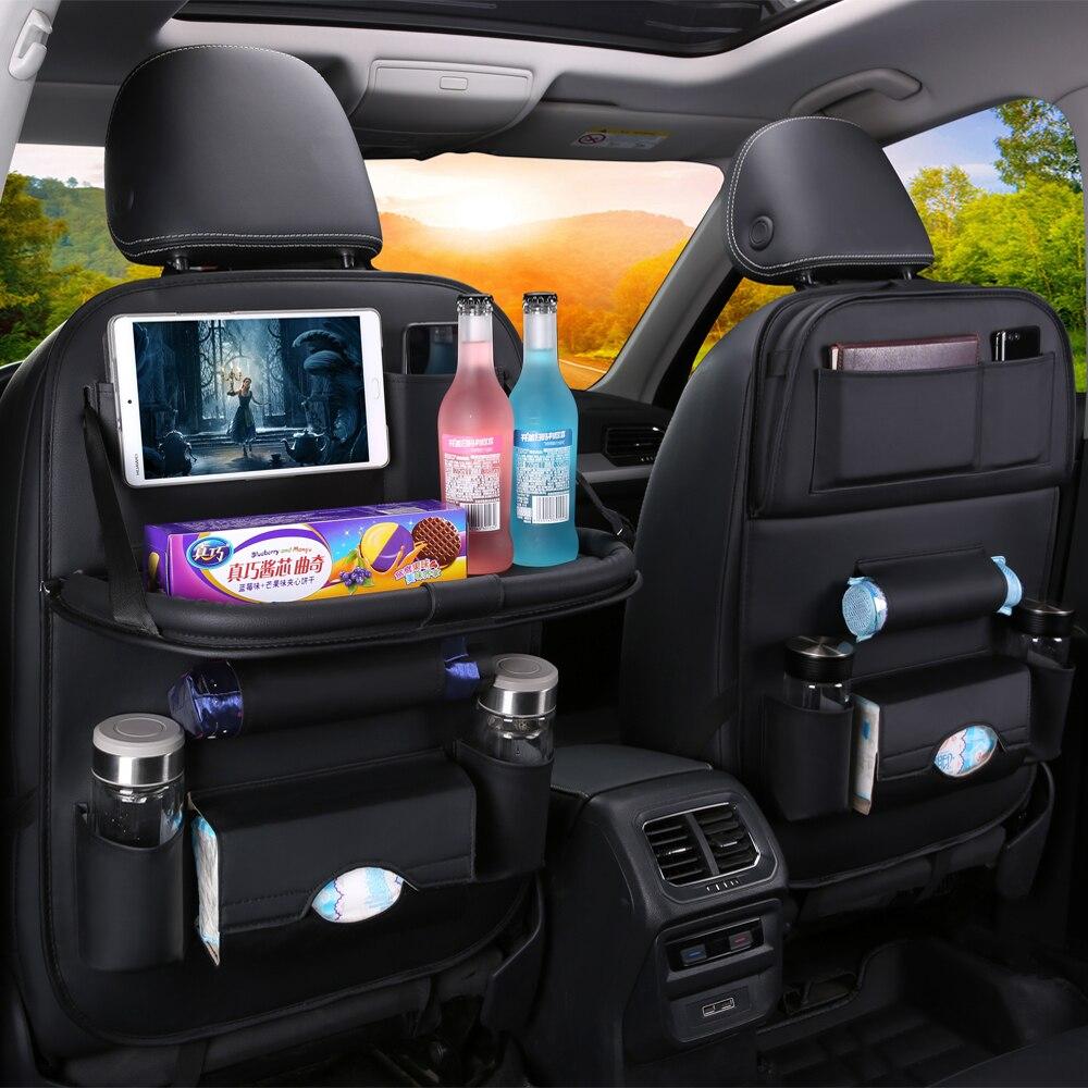 ESPACIOS DE ALMACENAMIENTO Auto del auto Asiento delantero o trasero Organizador Holder Bolsa de almacenamiento de viaje multibolsillo Color negro 6 bolsillos protectores de tama/ño