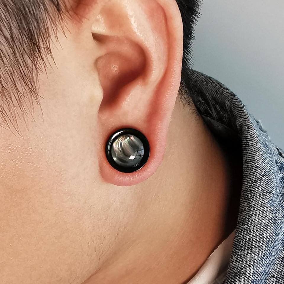 Opal White Plug Earring Ear Piercing Surgical Steel Flesh Tunnel