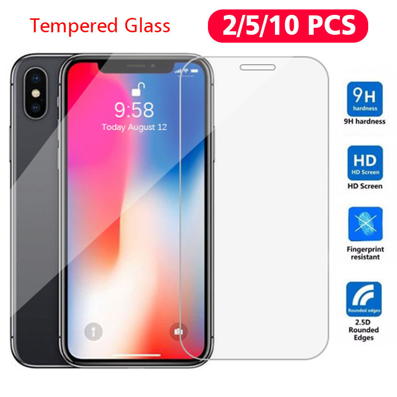2pcs Tempered Glass For IPhone 5 5S 5C 6 6S 7 8 Plus X 10 11 Pro Max Screen Protector Case For IPhone SE 5SE GLAS Phone Funda