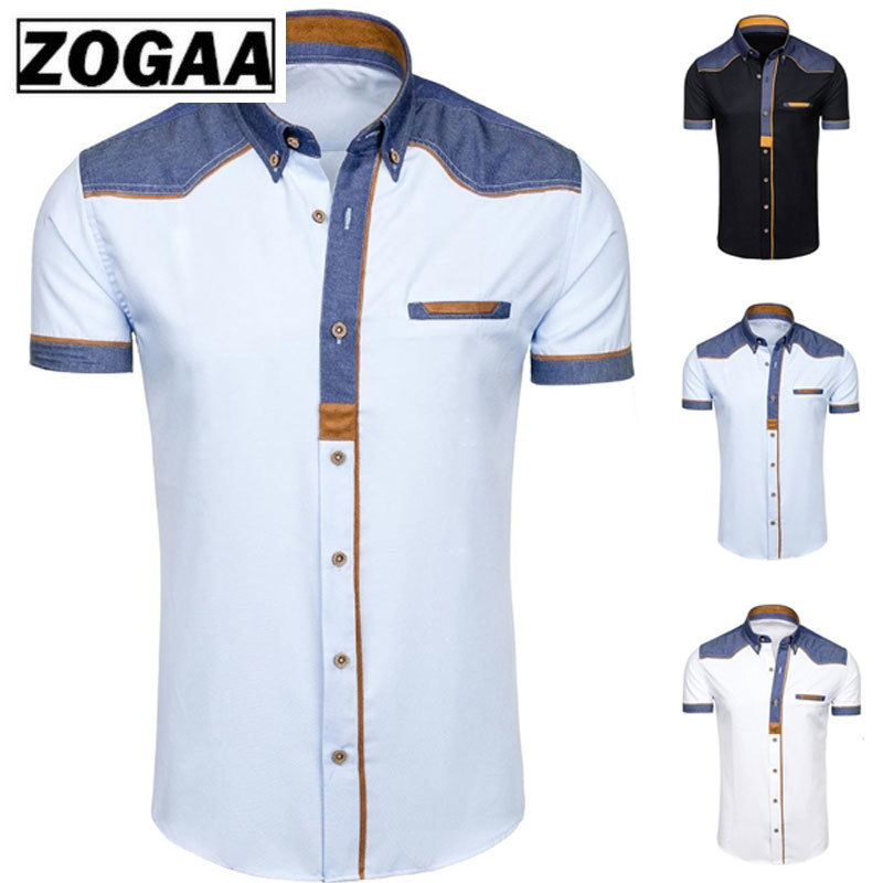 Men's Shirts Fashion Denim Short Sleeve Formal Shirts Man Casual Summer Clothing Tops Brand Slim Cotton Plus Size Male Shirts
